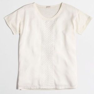 J. Crew Cream Embroidered Silky Front Blouse
